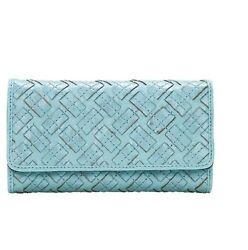 PATRICIA NASH Braided StitchTurquoise LEATHER Terresa TRIFOLD RFID CLUTCH WALLET $89.01