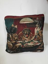 Vintage Htf Coolidge Poker Dogs Tapestry Needle Double Sided Throw 14x14 Pillow