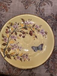 And Co Hand Painted Royal Crown Derby China Plate Gold Butterfly 1800s