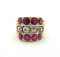 Rose Gold 14kt Ruby And Old European Cut Diamond Antique Ring 3 Row Band 2.60ct