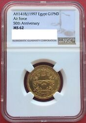 Egypt Gold 1 Pound 1997 Air Force 50th Anniversary Ngc Ms 62 Extremely Rare