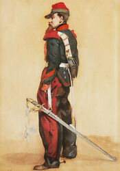Three French Watercolor Drawing Portrait Soldier Military Uniform Napoleon Iii