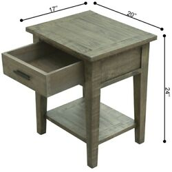 Ashford 2-set 20-inch Reclaimed Wood Lamp Table With Shelf And Drawer In Grey
