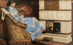 French 19th C. Oil Painting Woman Lady Stove Chimney Intimate Interior Scene Art