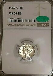 1942 S 10c Ngc Cac Ms 67 Fb Mercury Winged Liberty Silver Dime - Gorgeous
