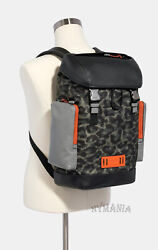 New Coach Ranger Backpack 1902 Mens Leather W/ Animal Camo Laptop Sleeve 650