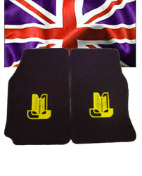 Floor Mats For Triumph Tr4 Tr5 Tr6 Velours Black And Logo In Yellow 2-pieces