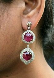 Ruby Diamond Earrings Set In 14k Gold And 925 Sterling Silver Unused Jewelry