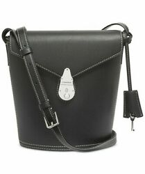 CALVIN KLEIN CK Bucket Bag Black Crossbody Leather Handbag Silver Retail $198 $45.00