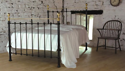 Victorian Replica Cast Iron And Brass Bed