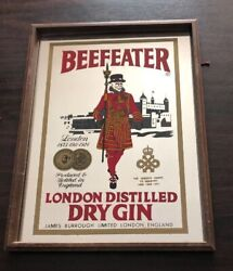 Vintage Beefeater London Dry Gin Bar Sign Wood Alcohol Promo Man Cave