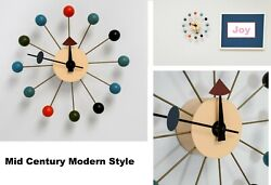 Mid Century Modern Style Multi Color Wood Wall Clock George Nelson And Eames Era