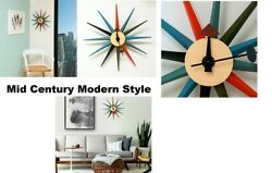 Mid Century Modern Style Multi Color Wall Clock George Nelson And Eames Era Style