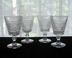 Duncan And Miller Glass 4 Clear 41 Sandwich 10 Ounce Footed Water Goblets
