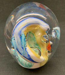 Large Vintage Murano Art Glass Paperweight Multicolor Swirls W/ Dolphins And Fish