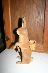 Reduced Large Antique Flocked German Rabbit Candy Container Germany With Basket