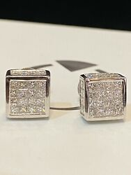 Pave 3.35 Tcw Princess Cut Diamonds Unisex Stud Earrings In 585 Stamped 14k Gold