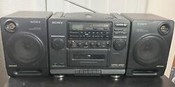 Sony Cfd440 Stereo Boombox Cd Cassette Equalizer Detachable Speakers Nice
