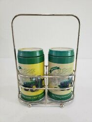 John Deere Collectible Salt And Pepper Shakers With Carrier Green