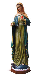 Immaculate Heart Of Mary Blessed Mother Virgin 40 Inch Large Statue Figurine