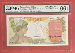 French Indochina 100 Piastres 1947-49 Pick 82as Pmg 66 Epq Gem Unc. 2441