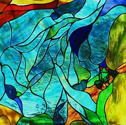 Red Eyed Green Tree Frog Water Design Stained Glass Window / Suspended Art Panel
