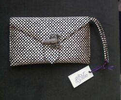 Wilbur And Gussie London Silver And Black Clutch With Lobster Rhinestone Brooch