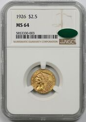 1926 2.5 Ngc/cac Ms 64 Indian Head Gold Quarter Eagle
