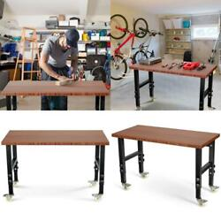 48andtimes24 Adjustable Height Workbench Mobile Tool Bench Bamboo Top With Caster
