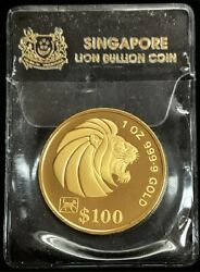 1994 Gold Singapore 1 Oz Lunar Year Of The Dog 100 Dollar Proof Coin