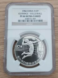 China Silver Proof 10 Yuan Coin 1984 Year Km96a Ngc Pf66 Volleyball Olympic