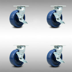 Ss Solid Poly Swvl Caster W/bb Set 4 W/6 Wheel- 4 Swvl W/side Lock Brk And Bsl