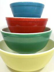 Pyrex Primary Colors Mixing Bowl Set Vintage Nesting Bowls Yellow Green Red Blue