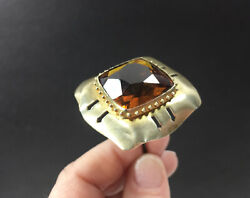 Antique Hat Pin W/ Faceted Amber 1 1/2andrdquo Glass Large 11 Long Vintage