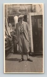 Roaring 20s Man In Argyle And Women On Passenger Ship Deck 1929 Photo Lot Of 7