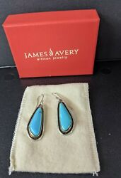 Sterling Silver,bronze And Turquoise Dangle Earrings By James Avery Boxandpouch
