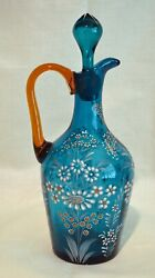 Antique Moser Blue Glass Decanter With Matching Stopper And Amber Applied Handle
