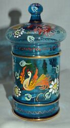 Antique Jose Cire Royo Spanish Blue Art Glass Candy Jar With Matching Dome Lid
