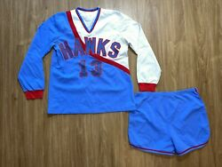 Vintage Russell Athletic Hawks Jersey Uniform Long Sleeve Shorts 16 Usa 70s/80s