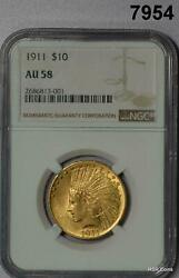 1911 10 Gold Indian Eagle Ngc Certified Au58 Flashy 7954