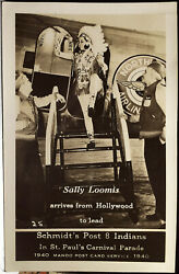 Sally Loomis And St Paul Post 8 American Legion Indians, Photo Post Card Majorette