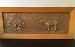 Rare Vtg 1959 Dee Flagg Large Wood Carved Panel Western Cowboys Calf Roping