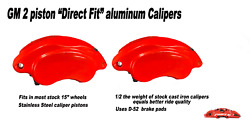 Forged Aluminum Gm Full Size Brake Calipers - D52 Pads - 2 Ss Pistons Red