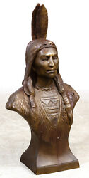 Indian Native American Bronze Bust--heavy And Large Sgnd Emil Epple German 1877