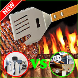 5 In 1 Grill Spatula With Knife And Blade Bbq Tool Natural Acacia Wood Handle