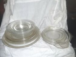 Lot Of 11 Pyrex Clear Glass Replacement Lids, Bowls, And Cake Plates.