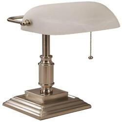 Bankers Desk Lamp Vintage Silver Glass Shade Student Antique Piano Table Light