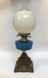 Antique Victorian Oil Lamp Teal Font Pearlised Globe Shade Lion And Ball Base