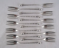 Set Of Dominick And Haff Ball Twist Sterling Silver Cocktail Forks Oyster Seafood