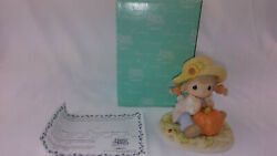 Precious Moments Oh What A Wonder-fall Day Girl On Pumpkin Porcelain Figure Rare
